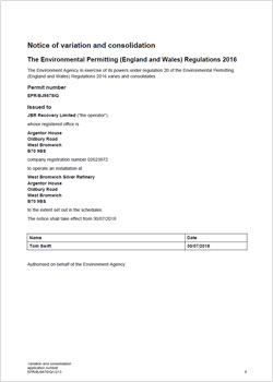 JBR Environmental Permit issued by the Environment Agency.