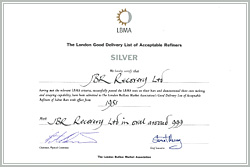 Certificate - JBR accepted into the London Good Delivery List of Acceptable Silver Refiners.