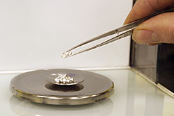 Weighing silver beads to determine silver assay.