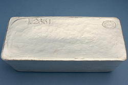 A JBR 1000 ounce Good Delivery 999 Silver bar.